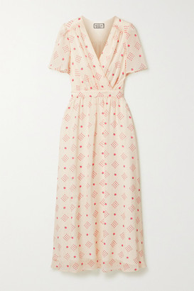 Paul & Joe Wrap-effect Floral-print Chiffon Midi Dress - Cream