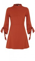 Tibi Bond Stretch Knit Tie Sleeve Dress