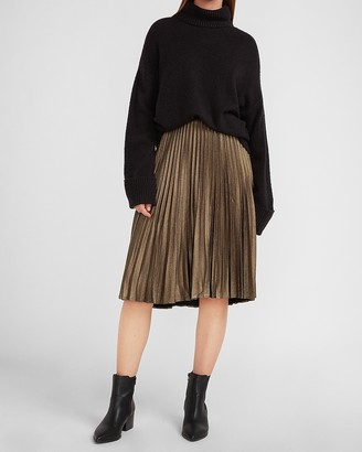 Express High Waisted Metallic Foil Pleated Midi Skirt