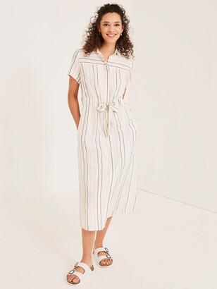 Fat Face Carey Stripe Shirt Midi Dress - Ivory