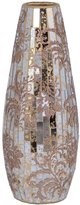Rayes Imports M37033 Mosaic Glass Vase Golden With Sparkled Pattern