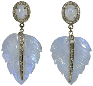Jacquie Aiche 14kt Yellow Gold Carved Moonstone Feather Drop Earrings