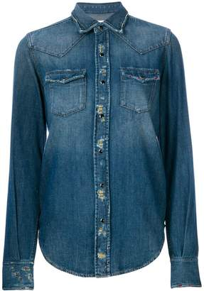 Saint Laurent distressed denim shirt