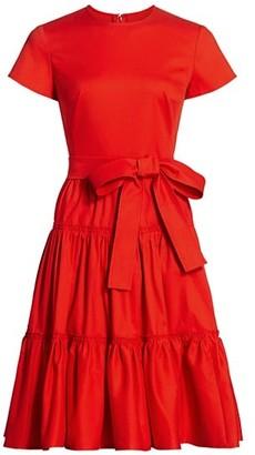 Carolina Herrera Short-Sleeve Tiered A-Line Dress