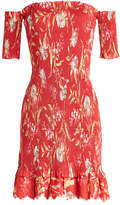 Zimmermann Corsair Smocked Off-the-Shoulder Linen-Cotton Floral Dress