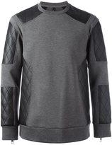 Neil Barrett quilted panel sweatshirt - men - Cotton/Polyurethane/Spandex/Elastane/Viscose - S