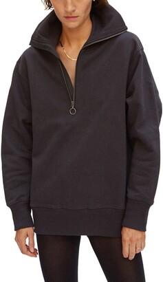 Quarter Zip Long Cotton Sweatshirt