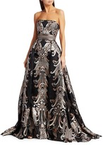 Thumbnail for your product : ZUHAIR MURAD Baker Metallic Jacquard Strapless Ball Gown