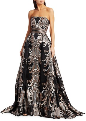 ZUHAIR MURAD Baker Metallic Jacquard Strapless Ball Gown
