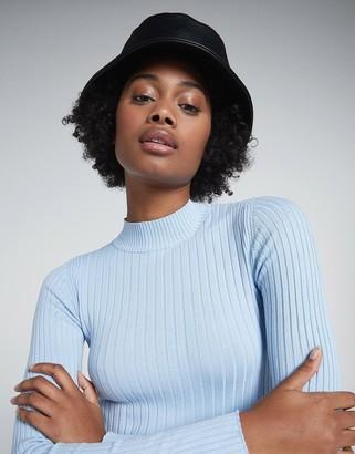 Bershka high neck fine knit jumper in baby blue