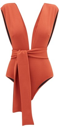 Haight Roge Cap-sleeve Waist-tie Swimsuit - Dark Orange