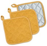 "DII 100% Cotton, Machine Washable, Heat Resistant, Everyday Kitchen Basic, Terry Pot Holder, 7 x 7"", Set of 3, Mustard"