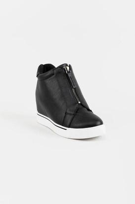 Sugar SugarTM Glitz Suede Front Zip Wedge Sneaker - Olive