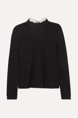 RED Valentino Tie-detailed Wool, Silk And Cashmere-blend Sweater - Black