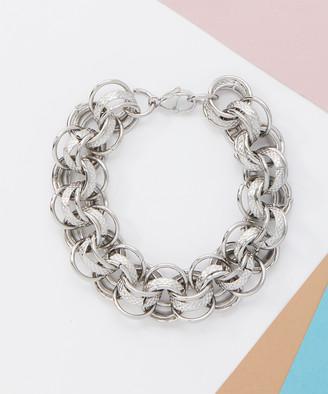 Bliss Women's Bracelets Silvertone - Stainless Steel Interlocking Bracelet