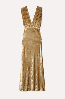 Mes Demoiselles Helen Draped Metallic Velvet Maxi Dress - Gold