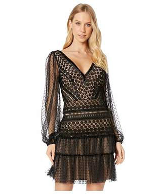 BCBGMAXAZRIA Long Sleeve Lace Cocktail Dress