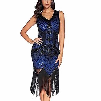 Milky Way Women V Neck Gatsby Dress 1920s Art Deco Sequin Paisley Flapper Tassel Glam Party Cocktail Evening Dresses (Royal Blue L=UK 12)