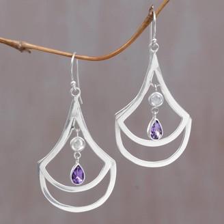 Novica Handmade Sterling Silver 'Glory of Purple' Amethyst Rainbow Moonstone Earrings