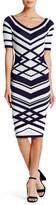 Wow Couture Striped Wide V-Neck Bodycon Midi Dress