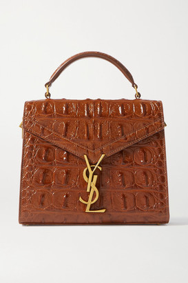 Saint Laurent Cassandra Mini Croc-effect Leather Tote - Tan