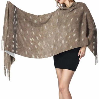 Yinyinyin. Cashmere Scarf Womens Large Scarf Deer Hide Fabric And Taupe Soft Cashmere Feel Pashmina Shawls Wraps