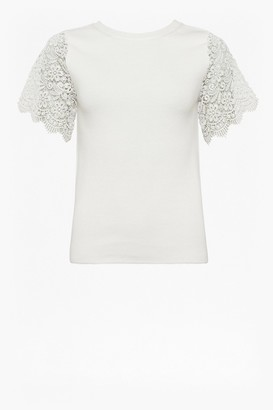 French Connection Marianne Knit Lace Sleeve T-shirt
