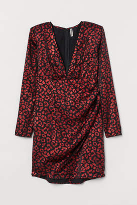 H&M Dress with Shoulder Pads - Red