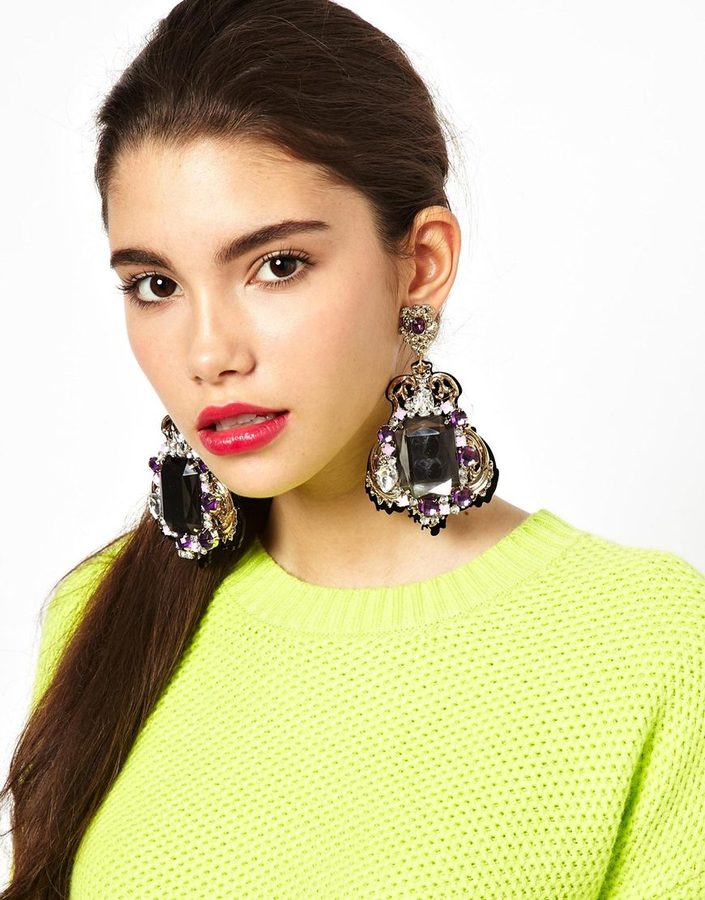Asos Premium Baroque Clip On Jewel Earrings