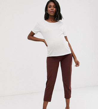 Asos DESIGN Maternity under the bump pull on tapered pants in jersey crepe-Brown