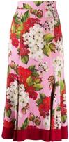 Dolce & Gabbana Geranium Print Midi Skirt