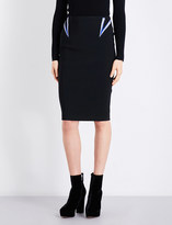 Thierry Mugler Metallic-embroidered fitted high-rise jersey skirt