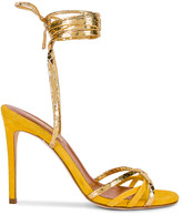 Paris Texas Suede and Metallic Wrap Stilettos in Yellow & Gold | FWRD