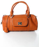 Rafe New York Orange Leather Silver Tone Zip Top Shoulder Handbag