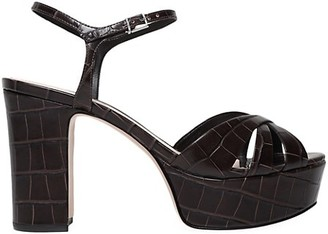 Schutz Keefa Croc-Embossed Leather Platform Sandals