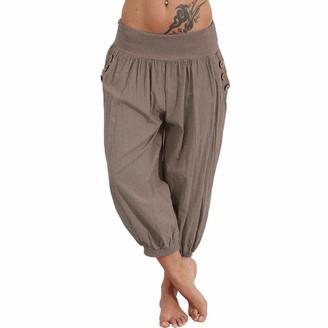 IFOUNDYOU Women's Sports Cropped TrousersChicago Ladies Capri Crop Shorts Harem Pants Womens 3/4 Cropped Trousers Sweatpants Linen Button Wood Optics Cargo Pants Cropped Trousers Women