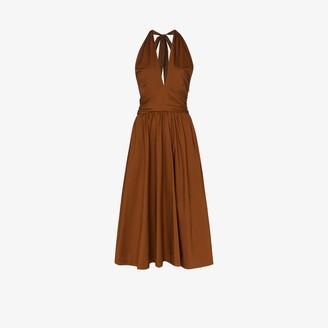 STAUD Moana flared halterneck dress