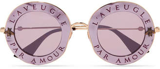 Gucci Round-frame Printed Acetate And Gold-tone Sunglasses - Purple