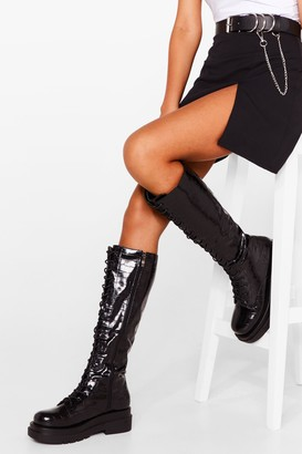 Nasty Gal Womens Stomping Ground Patent Faux Leather Knee High Boots - Black - 3