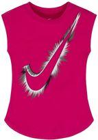 Nike Girls 4-6x Swoosh Logo Burst Curved Shimmer Tee