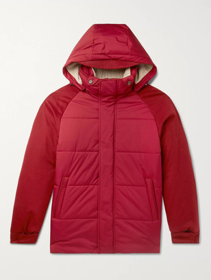 Loro Piana Storm System Quilted Baby Cashmere and Shell Hooded Jacket - Men - Burgundy