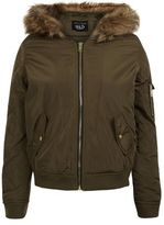 New Look Teens Khaki Faux Fur Hooded Bomber Jacket