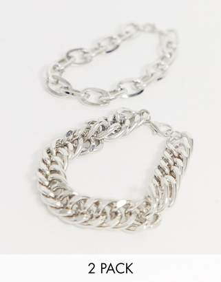 Uncommon Souls chunky bracelet 2 pack in silver
