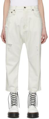 R 13 White Tailored Drop Jean