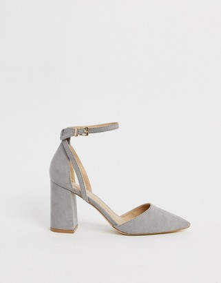 Raid Katy gray block heeled shoes