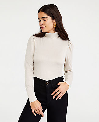 Ann Taylor Shimmer Puff Shoulder Turtleneck Top