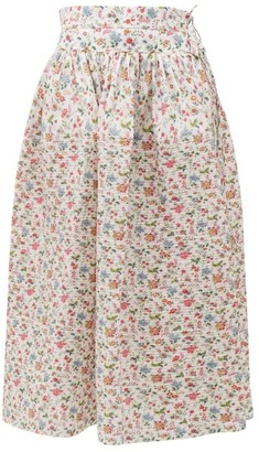 Horror Vacui Toga Floral-print Cotton Midi Skirt - Womens - White Multi