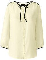 Classic Women's Petite 3/4 Sleeve Contrast Binding Blouse-Bavarian Creme