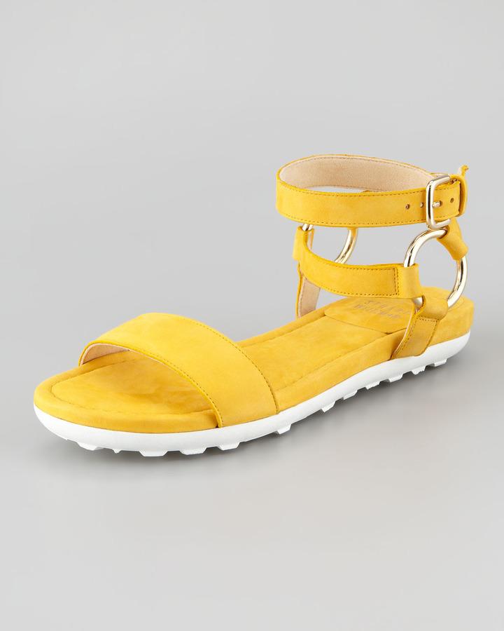 Stuart Weitzman Ringo Ankle-Strap Flat Sandal, Sunny