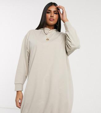 ASOS DESIGN Curve hoodie sweat dress in oatmeal marl